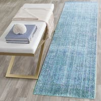 Safavieh Valencia Turquoise/ Multi Overdyed Distressed Silky Polyester Runner - 2'3 x 6'