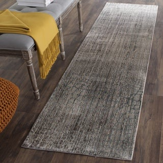 Safavieh Valencia Grey/ Multi Abstract Distressed Silky Polyester Runner (2' 3 x 10')