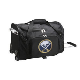 Denco Sports 'Buffalo Sabres' Black Nylon and Polyester 22-inch Carry-on Rolling Duffel Bag