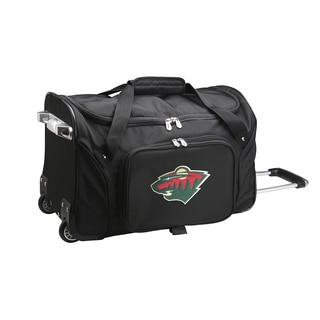 Denco Sports Minnesota Wild Black Ballistic Nylon and Polyester 22-inch Carry-on Rolling Duffel Bag