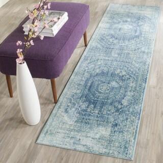 Safavieh Valencia Blue/ Multi Center Medallion Distressed Silky Polyester Runner (2' 3 x 10')
