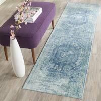 Safavieh Valencia Blue/ Multi Center Medallion Distressed Silky Polyester Runner Rug - 2'3 x 10'
