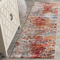 Safavieh Valencia Multi Abstract Distressed Silky Polyester Runner Rug