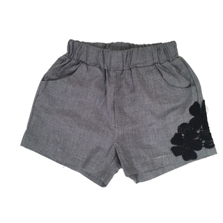 Haley Boutique Girls' Grey Spandex and Polyester Embroidered Flowers Shorts (Option: 2t)