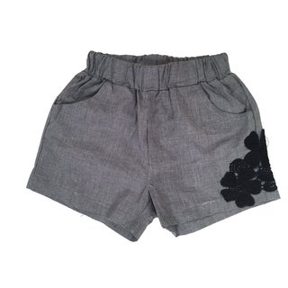 Haley Boutique Girls' Grey Spandex and Polyester Embroidered Flowers Shorts (Option: 5t)