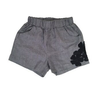 Haley Boutique Girls' Grey Spandex and Polyester Embroidered Flowers Shorts