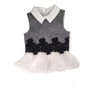 Haley Boutique Girls' Embroidered Flowers Tulle Top