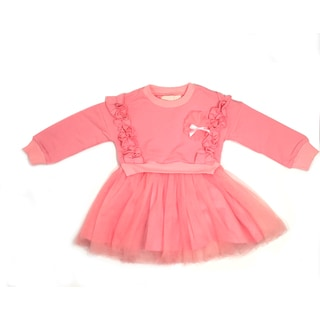 Haley Boutique Girl Long Sleeve Ruffled Tutu Pink Spandex/ Cotton Dress