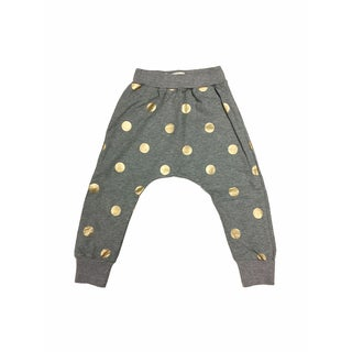 Haley Boutique Girls' Polka-dot Grey Cotton and Spandex Sweatpants