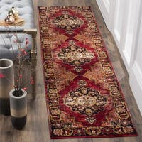 Safavieh Vintage Hamadan Medallion Red/ Multi Distressed Runner Rug