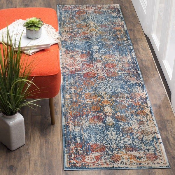 Safavieh Vintage Turquoise And Multi Colored Area Rug: Safavieh Vintage Persian Turquoise/ Multi Distressed