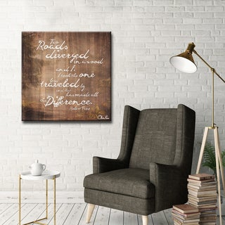 Robert Frost - 'Road Traveled' Inspirational Canvas Art by Olivia Rose