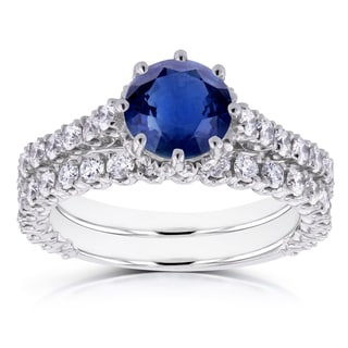 Annello by Kobelli 14k White Gold Sapphire and 1 1/10ct TDW Diamond 8 Prong Standing Halo Bridal Rings (GH, I1-I2)