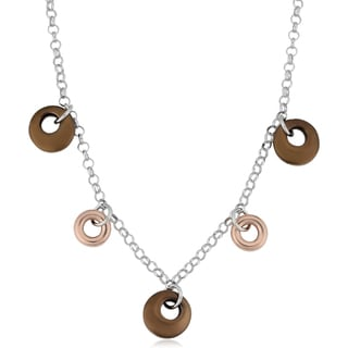 Argento Italia Tri-color Sterling Silver Puffed Circles Charm Adjustable Length Necklace