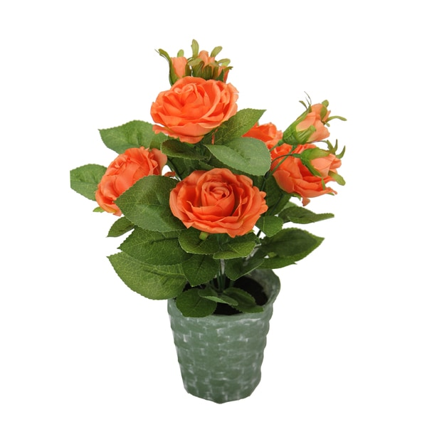 Admired by Nature Artificial/Ceramic 13-inch Tall Potted Rose Plant