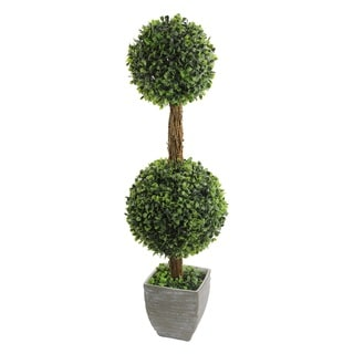 Green 30-inch Artificial Desktop Double Ball-shaped Topiary in Ceramic Pot