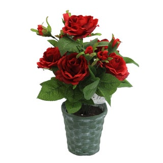 Admired by Nature Red Artificial/Ceramic 13-inch Tall Potted Rose Plant with Geenery