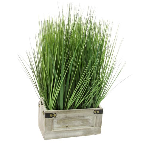 The Gray Barn Jartop Green Tall Artificial Grass with Wooden Planter