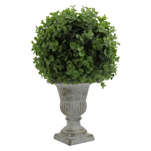 Admired by Nature Green 13-inch Desktop Artificial Eucalyptus Ball Topiary in Ceramic Pot
