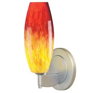 Bruck Lighting Ciro 1 1-light Chrome Wall Sconce with Yellow and Red Glass Shade
