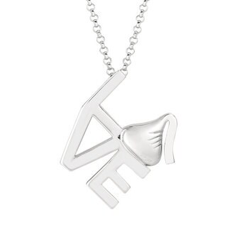 Hershey's Sterling Silver Hershey's Kiss Square 'Love' Pendant