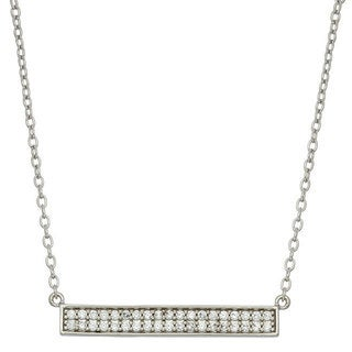 Women's Sterling Silver CZ 18-inch 2-row Trapeze Necklace