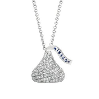 Hershey's Kisses Sterling Silver CZ 18-inch Medium 3D Pendant