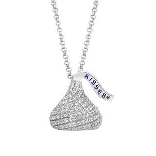 Hershey's Kisses Sterling Silver CZ 18-inch Medium 3D Pendant