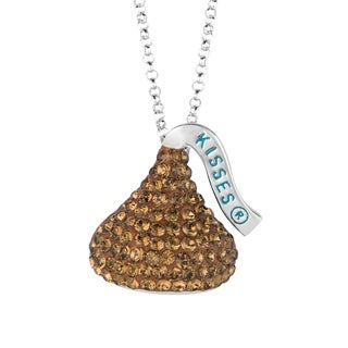 Hershey's Kisses Women's Sterling Silver Swarovski Elements Flat Back 18-inch Medium Hershey Kiss Pendant Necklace