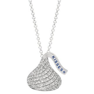 Hershey's Kisses White Sterling Silver CZ Women's Medium Flat Back