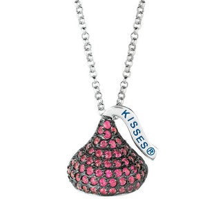Hershey's Kisses Sterling Silver Black Rhodium Red Cubic Zirconia Medium Flat Back Pendant on 18-inch Chain
