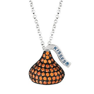 Hershey's Kisses Women's 18-inch Sterling Silver, Black Rhodium, Cubic Zirconium, Medium Flat Back January Pendant