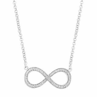 Sterling Silver 0.225ct Diamond Women's Infinity 18-inch Necklace