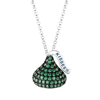 Hershey's Kisses Women's Black Rhodium Sterling Silver CZ 18-inch Medium Flat-back May Pendant Necklace