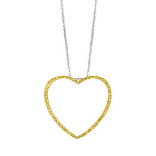 14k Yellow Gold over Silver 3/8ct TDW Diamond Medium Heart Stackable Pendant