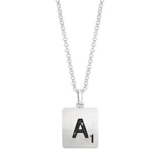 Scrabble Sterling Silver Black Diamond Accent Initial Pendant