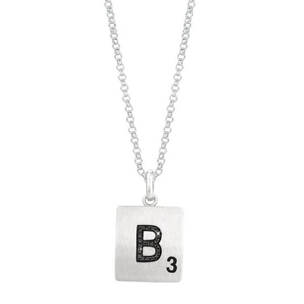 Scrabble Necklace Pink//Green//Black Sterling Silver plated