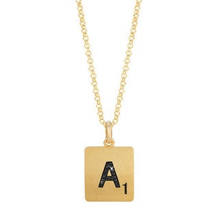 Scrabble 14k Yellow Gold over Silver Diamond Accent Initial Pendant