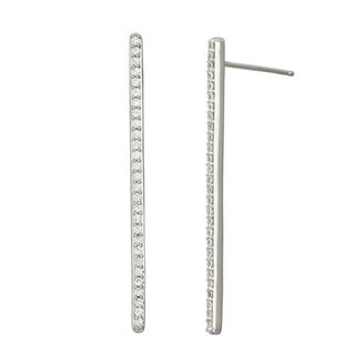 Sterling Silver CZ Women's Long Stick Stud Earring