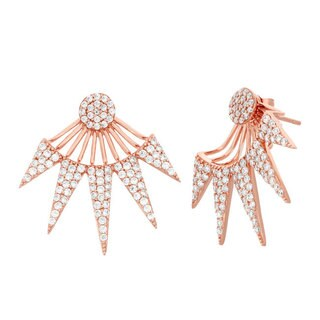 Rose Sterling Silver and Cubic Zirconia 5-spike Earrings