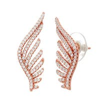 Rose Sterling Silver CZ Wing Earrings