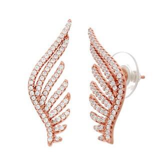 Rose Sterling Silver CZ Wing Earrings