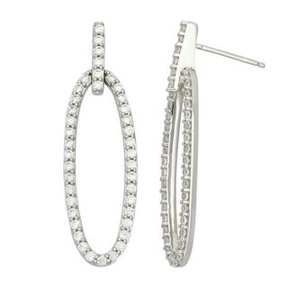 Sterling Silver Cubic Zirconia Open Oval Long Dangle Earrings