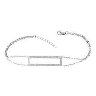 Sterling Silver 1/3ct TDW Diamond Open Rectangle Trapeze Chain Bracelet (G-H, I1-I2)
