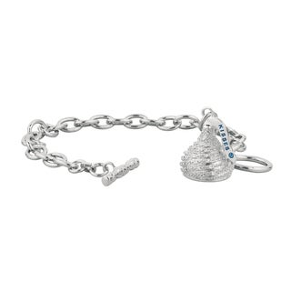 Hershey's Kisses Sterling Silver Diamond Accent Medium 3D Toggle Bracelet