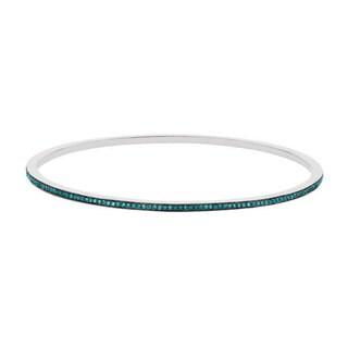 Sterling Silver 1/2ct TDW Blue Diamond Stackable Slip-on Bangle Bracelet