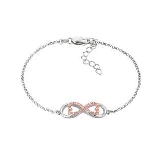 14k Rose Gold over Silver Diamond Accent Horizontal Love for Infinity Bracelet