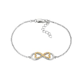 14k Yellow Gold over Silver Diamond Accent Horizontal Love for Infinity Bracelet