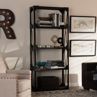 Baxton Studio Phoibe Rustic Industrial Style Antique Black Textured Finished Metal Distressed Wood Tall Shelving Unit