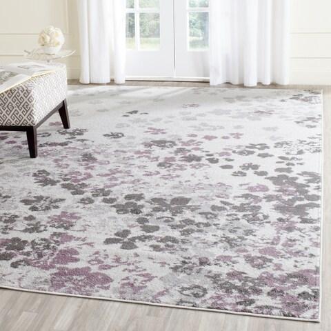 Safavieh Adirondack Marisol Floral Light Grey / Purple Rug - 8' x 8' Square